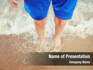 Waves boy standing beach, motion