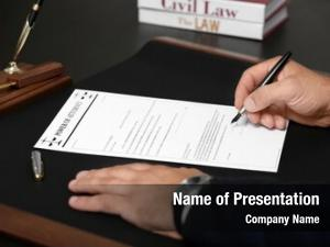 Power man signing attorney, closeup