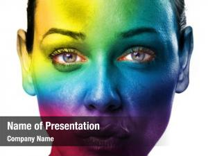 Woman close young face rainbow