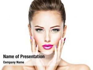 Woman face beautiful fashion makeup