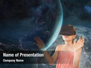 Touching girl headset planet against
