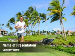 Man outdoor exercise running grass