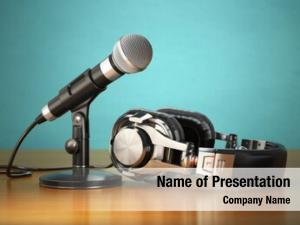 Radio audio recording commentator concept