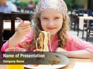 Pasta child eating cafe