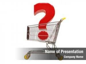 Red shopping cart question sign