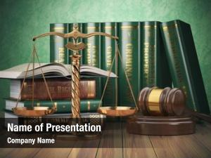 Justice, gold scales gavel books