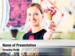 Portion ice cream seller scoop ice