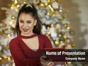 Woman smiling young christmas present