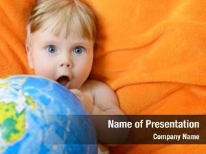 Playing happy baby terrestrial globe