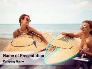 Surfer young beautiful women beach