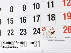 Showing calendar page december christmas