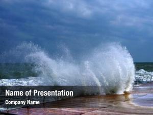 Stormy huge breaking wave