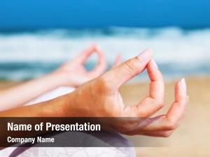 Beach, yoga meditation healthy female