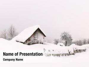 Landscape minimalistic winter wooden house