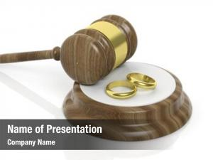 Two wooden gavel gold wedding