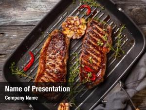 Steak grilled striploin spices herbs