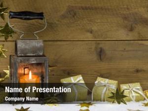 Wrapped metal lantern gold presents