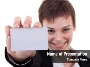 Showing business woman handing blank