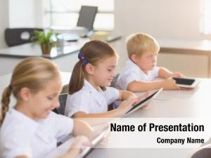 Using school kids digital tablet