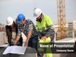 Foreman bricklayers outdoors