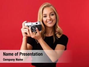 Woman portrait paparazzi 20s holding