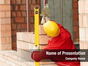 Worker construction mason bricklayer making