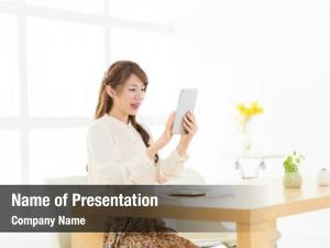 Woman beautiful asian using ebook
