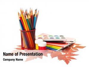 Pencils, school equipment paints brushes