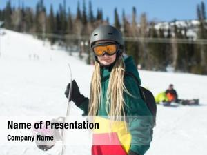 Woman portrait young snowboard snowy