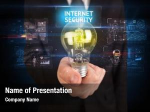 Lightbulb businessman holding internet security