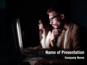 Looking serious programmer computer screen