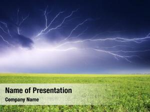 Over lightning strike green field