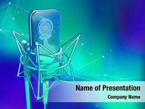 Cold professional microphone blue green technological