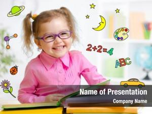 Glasses happy child reading book