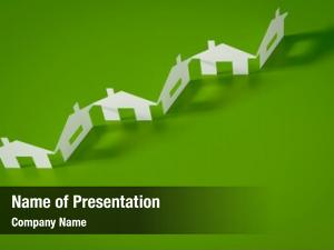 Row paper cutout houses green