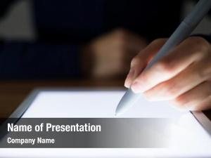 Something woman writing digital tablet