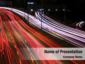 (cars night highway rush moving