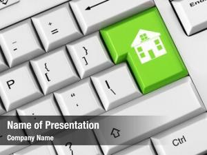 Green house symbol keyboard key