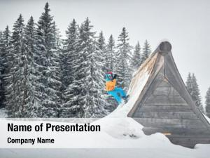 Ski snowboarder jump resort snowy