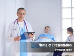 Folder doctor holding front patient