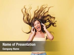 Woman image cheerful 20s singing