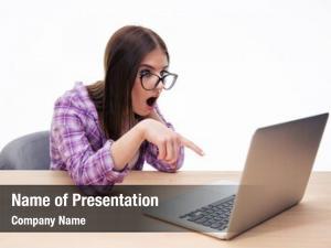 Student surprised female glasses sitting
