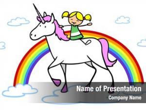 Girl cartoon unicorn rainbow fantasy