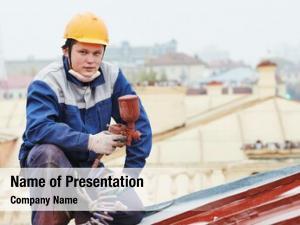 Worker roofer builder pulverizer spraying