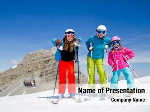 Fun skiing, winter happy skiers