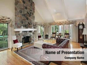 Home living room stone fireplace