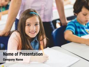 Girl close school doing homework
