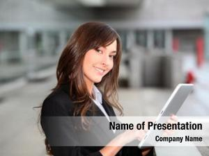 Outside businesswoman standing electronic tab