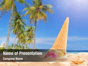 Splashed ice cream sand beach
