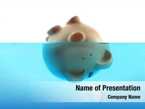 Represented drowning debt piggy bank